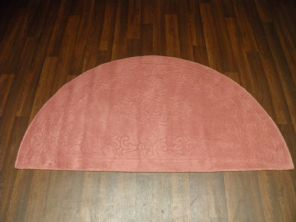 HALF MOON 100% WOOL RUGS NEW SUPER THICK PILE 67CMX137CM ROSE PINK LOVLEY RUGS